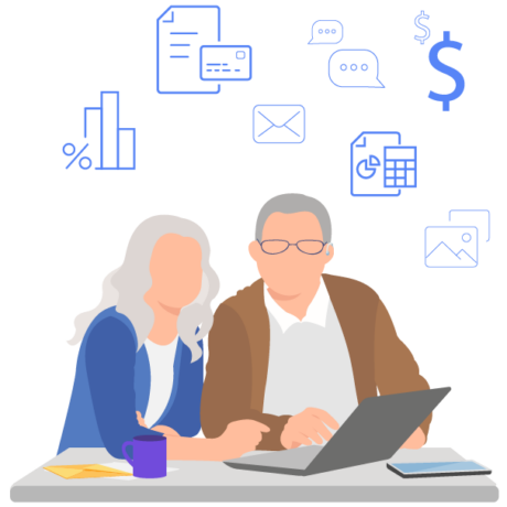 two people looking at financial information on a laptop