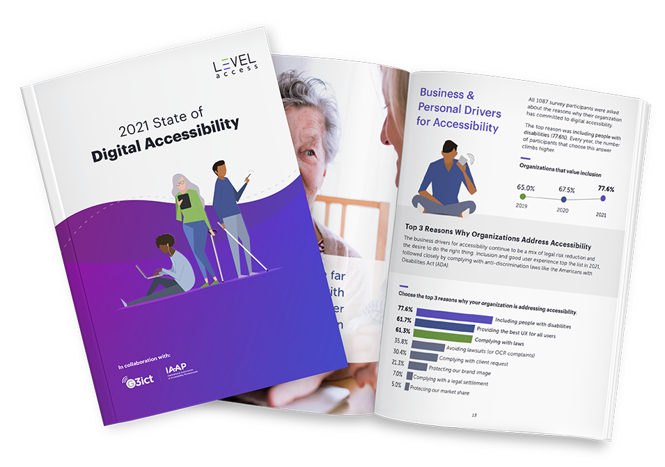 The 2021 State of Digital Accessibility Report with 2 pages displayed